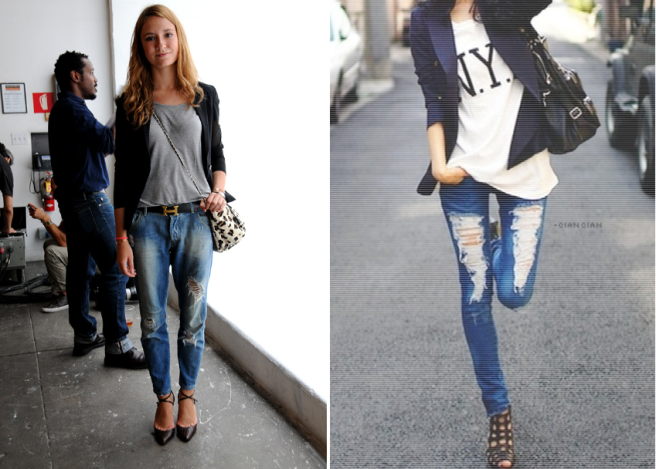 how-to-wear-a-blazer-style-lena-penteado-ripped-jeans-and-tee