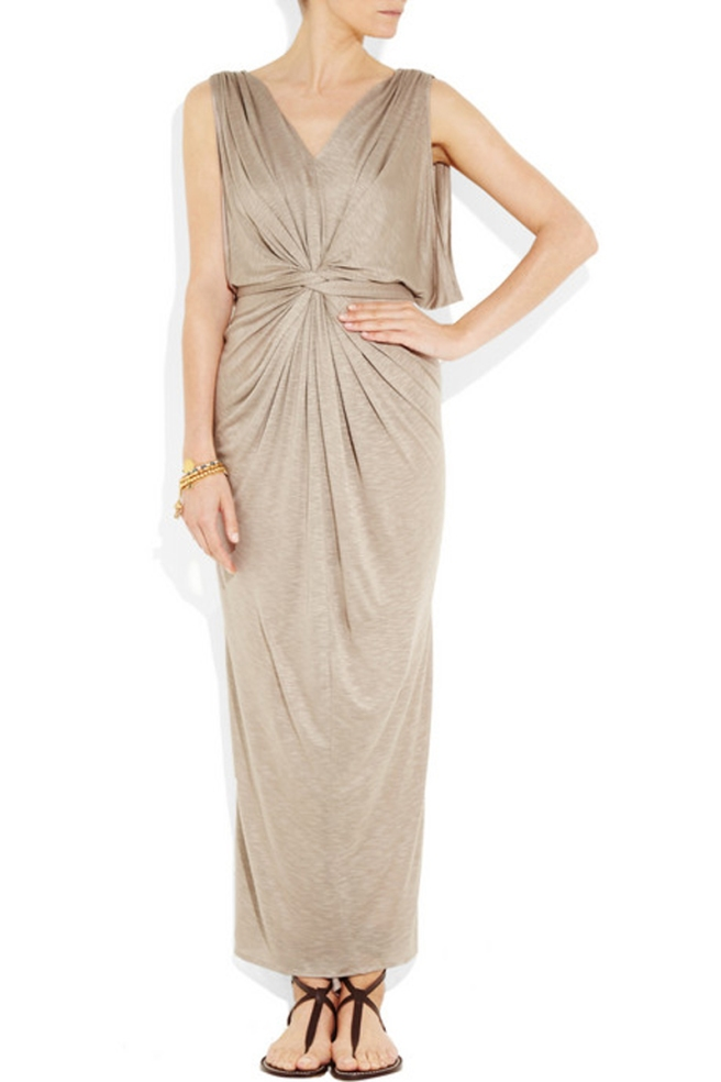 Knot-front-slub-jersey-maxi-dress-by-t-bags-from-front-view