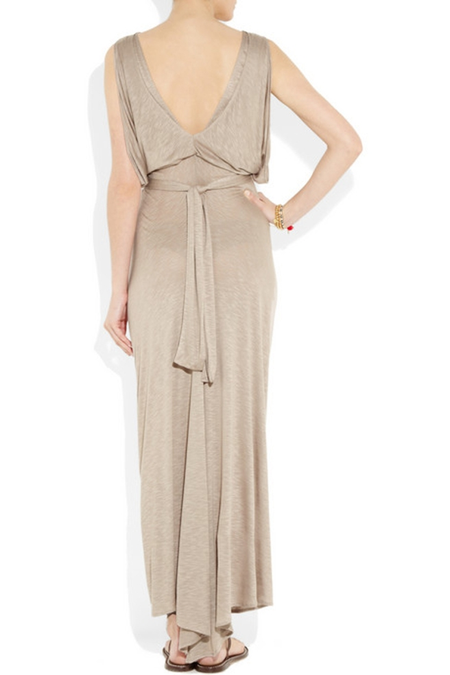 Knot-front-slub-jersey-maxi-dress-by-t-bags-from-rear-view