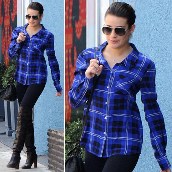 lea-michele-black-tights-boots-plaid-shirt